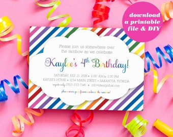 PRINTABLE Birthday Invitations | Rainbow Sweet 16 Invitation | Instant Download Birthday Party Invites | Rainbow Invitation for Any Age