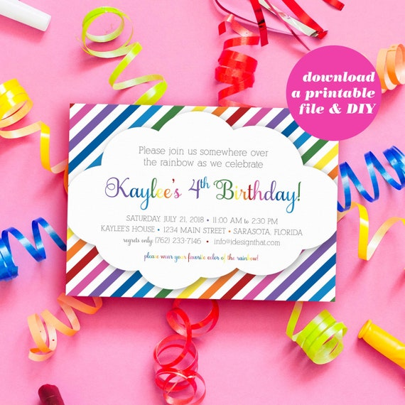 PRINTABLE Rainbow Theme Birthday Invitations Simple Modern