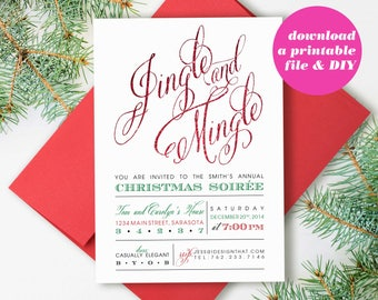 PRINTABLE Christmas Party Invitations | Jingle and Mingle Christmas Invitation | Instant Download Holiday Party Invite | Christmas Party