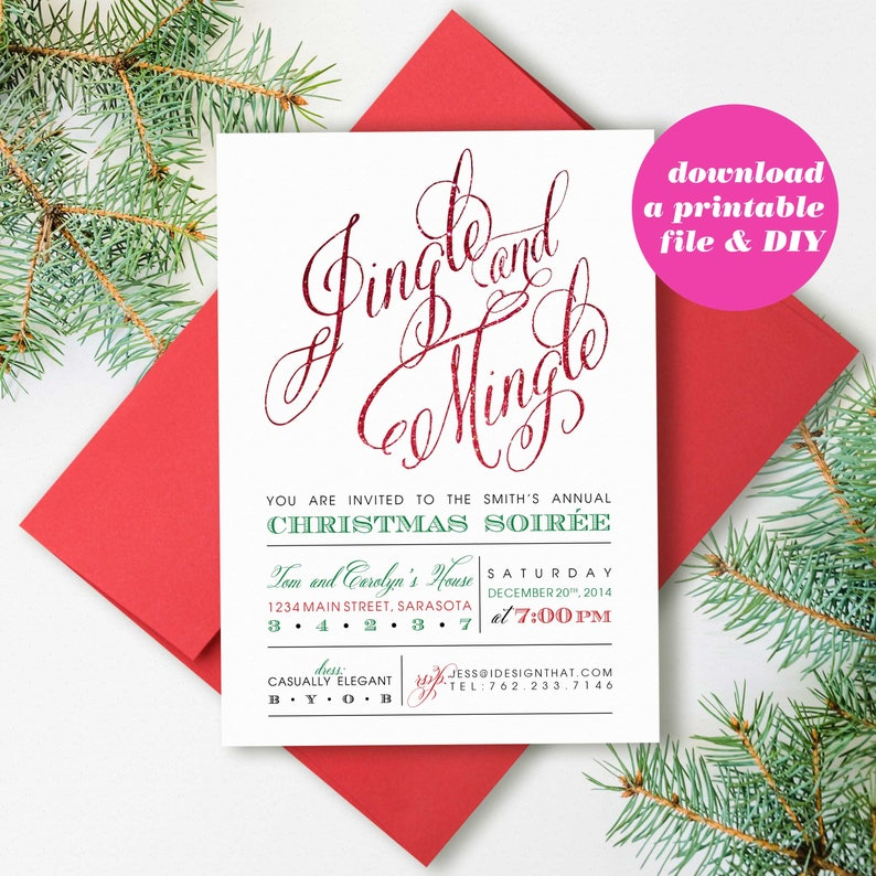 picture about Printable Christmas Invitations known as PRINTABLE Xmas Social gathering Invites Jingle and Mingle Xmas Invitation Electronic Obtain Vacation Social gathering Invite Xmas Bash