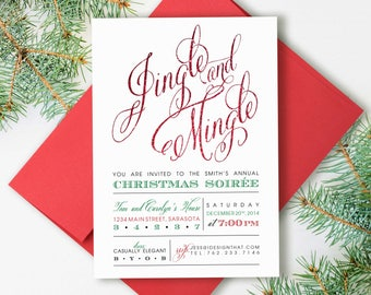Christmas Party Invitations | Jingle and Mingle Christmas Invitation | Holiday Party Invite | PRINTED Christmas Party Invites with Envelopes