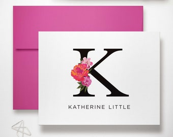 Stationary Set of Folded Notecards Personalized for Women | Custom Thank You Notes or Monogrammed Note Card Stationery | FLORAL INITIAL