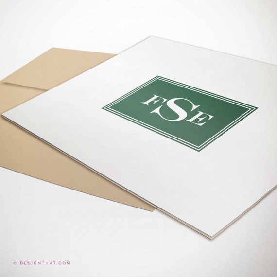 Personalized Stationery Set of 8 Monogram Notecards | Gift For Boyfriend | Groomsmen Gift | Note Cards Stationary Set | ENGRAVED MONOGRAM