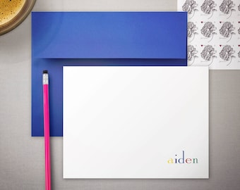 Kid's Stationary Gift | Boys Monogram Note Cards | Baby Stationery | Custom Flat Notecards | Personalized Children's Stationary | AMPHORA