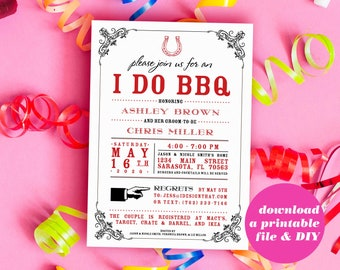 PRINTABLE I Do BBQ Bridal Shower Invitation | Wedding Shower or Couples Shower Invitation | Instant Download Couples Wedding Shower Invite