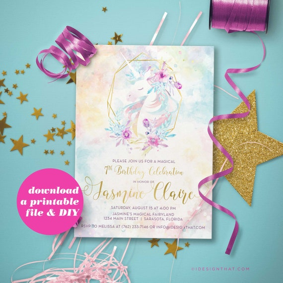 photo relating to Printable Unicorn Invitations referred to as PRINTABLE Unicorn Invitation for a Magical Birthday Bash Electronic Down load Pastel Watercolor Social gathering Invite for a Minor Ladies Birthday