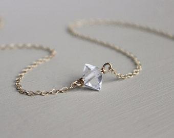 Herkimer Diamond Necklace, Gold necklace, Layering necklace, layered necklace, layered necklaces