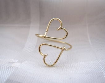 Gold Heart to Heart Ring
