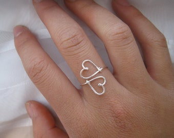 Silver Heart to Heart Ring