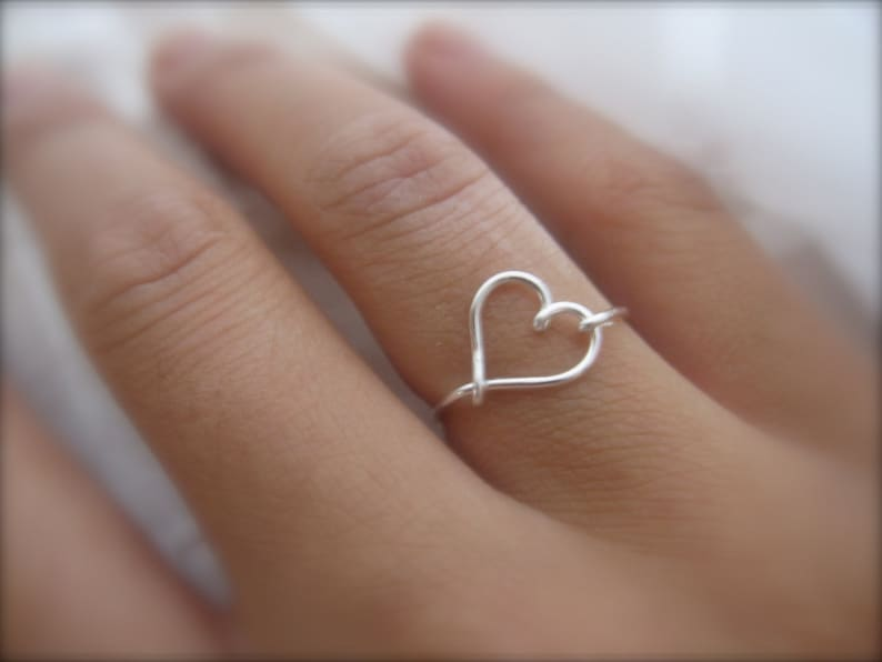 Mother's Day Mothers day gift  Silver Heart Ring image 0
