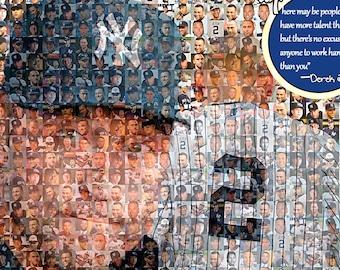 Derek Jeter, New York Yankees, Mosaic Print Art