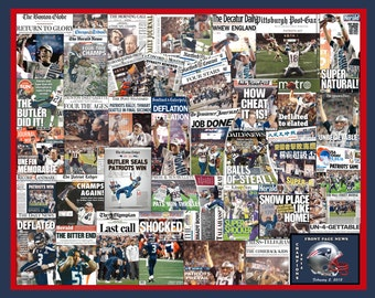 """Seattle Seahawks 2014 Super Bowl Newspaper Collage Poster 16x20/"""" Unframed"""
