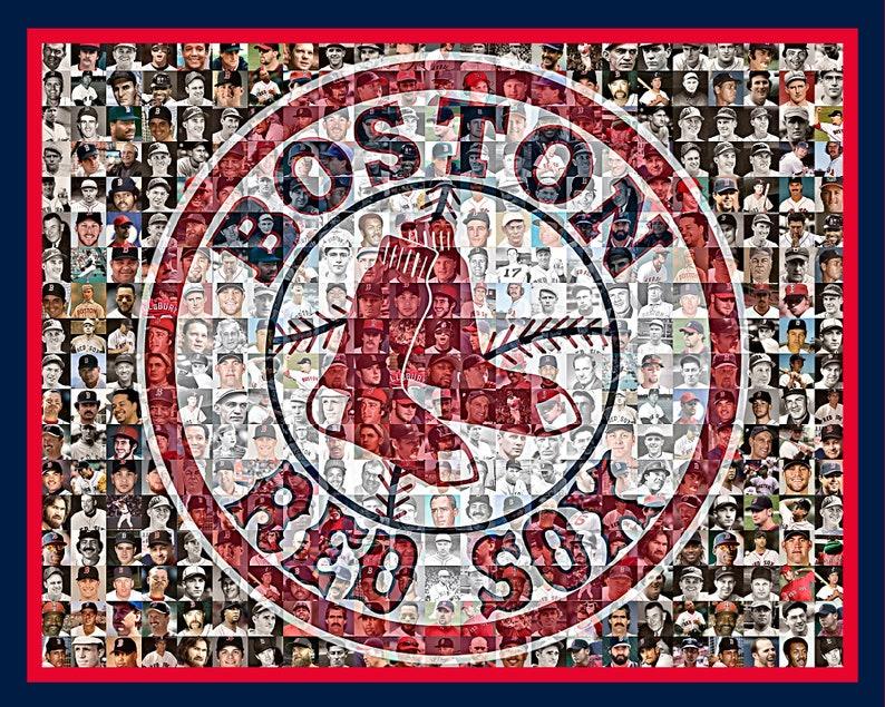 e8093243e Boston Red Sox Photo Mosaic Print Art of 200 Past and Present | Etsy