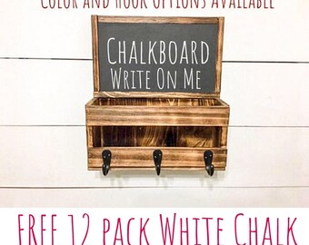 Key and Mail Holder - Chalkboard Message Board - Entryway Decor - Rustic Decor