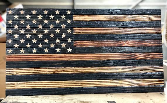 Rustic Burnt Chiseled American Flag Wood American Etsy
