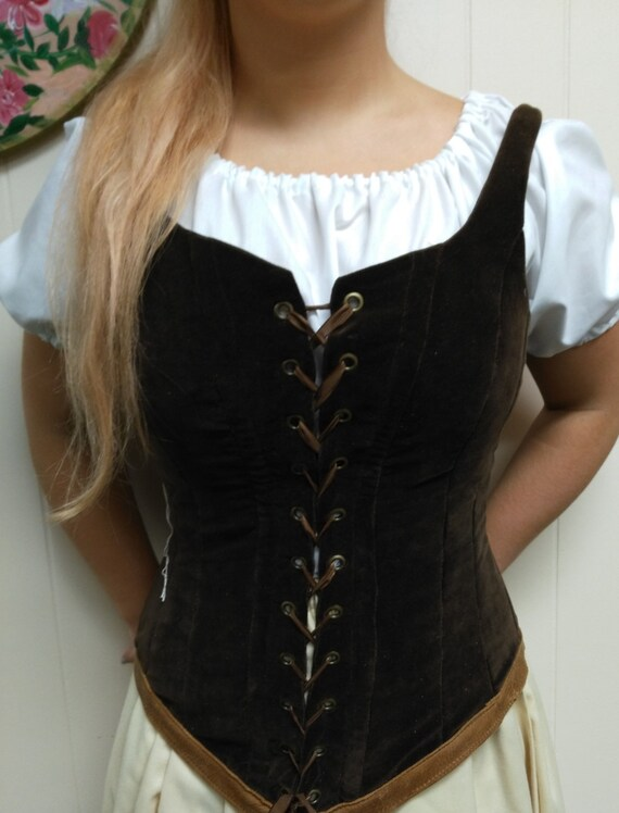 Twill Lace-Up Bodice Vest Cotton Renaissance Faire Cosplay Boned with Eyelets