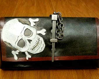 Handmade leather pirate cell phone pouch