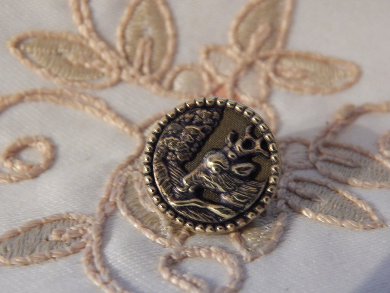 Head of Stage Drinking Water from a Stream Antique Small Picture Button