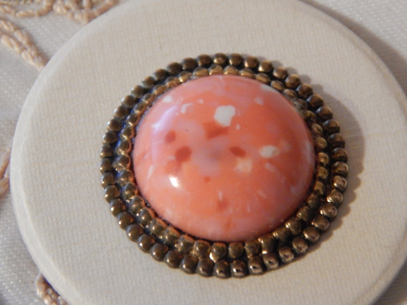 Red and White Glass Center Button or Trim Set in Metal Orange