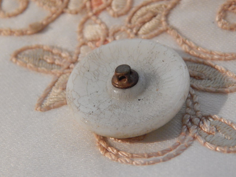 Antique Milk Glass Button with a Green Lacquer Finish