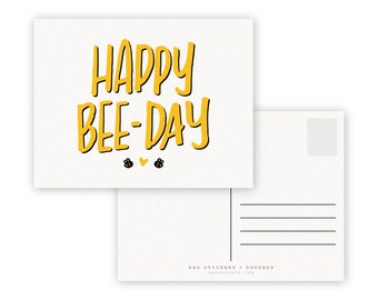 Happy Bee-Day A2 Double Sided Postcard - Bees Honey Birthday Card
