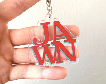 """JAWN Clear Acrylic Keychain 2"""" ~ Philly Philadelphia Delco Love Park Bumper Stickers"""