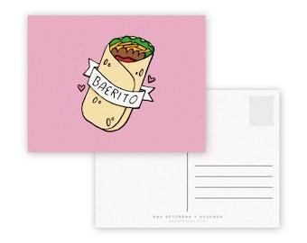 Baerito A2 Double Sided Postcard - Bae Burrito Burritos Love