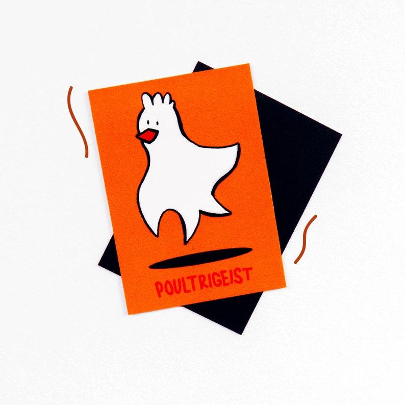 SALE ~ Poultrigeist 2x2.75 Magnet ~ Chicken Chicken Ghost Poltergeist Spooky Scary Orange Halloween
