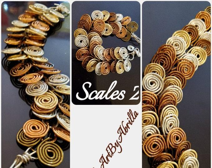 SCALES 2 ... bracelet... wire wrap jewelry ... exotic jewelry ... handmade jewelry ... wearable art ...