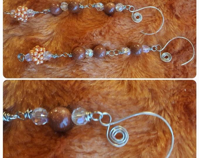 RainShowers ... dangle .. drop .. pearl earrings .. goldstone .. silver jewelry ..
