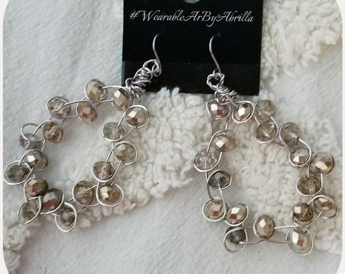 Round Midnite ... crystal jewelry ... unique earrings ... bling ...festive ... silver earrings ... wearable art ...  jewelry lovers ...