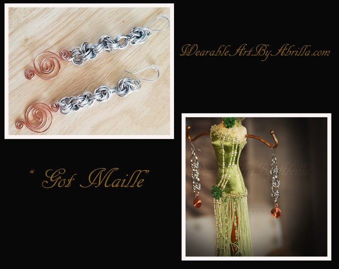 Got Maille ... dangle earrings...custom made ... wearable art ... chain maille ... jewelry lovers ... one of a kind ... handmade ...