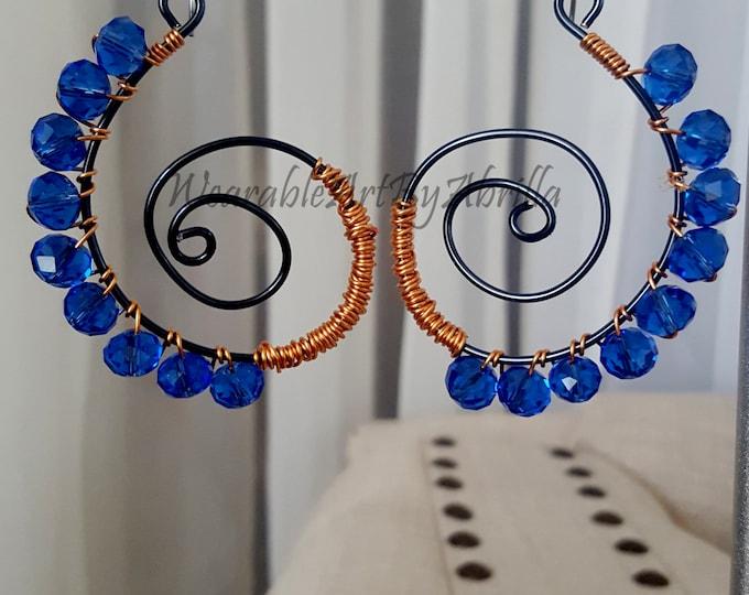 GYPSYwoman...handmade jewelry...swarovski .. earrings .. hematite .. wire wrapped ..wearable art .. jewelry lovers  .. earrings  ..