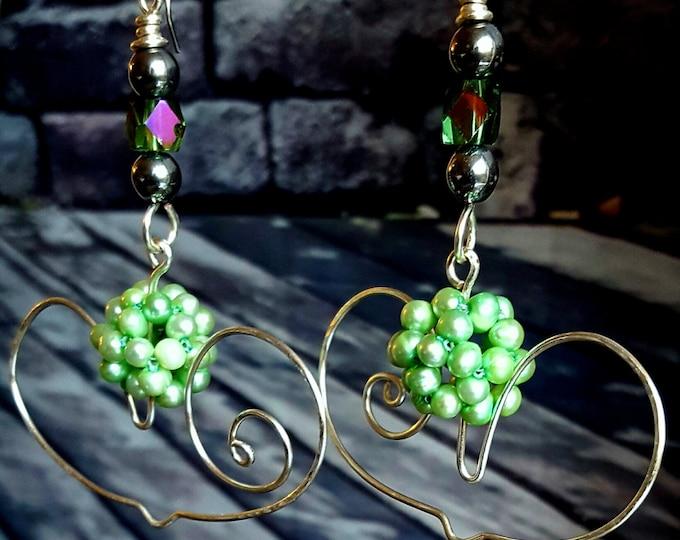 BEINGreen ... pearls .. heartshaped .. earrings .. jewelry .. dangled .. drop .. silver earrings ..
