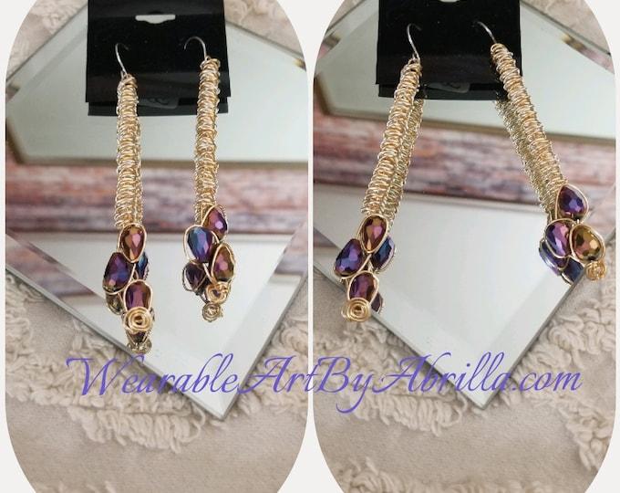 Passionate .... drop  earrings... dangle earrings ... wire wrapped ... after five ... wearable art ... jewelry lovers ... jewelry ... beaded