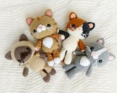 PATTERN BUNDLE Crochet Kitty Cat Patterns 4 Amigurumi Cat Breeds in Siamese, Tabby, Calico Tuxedo Kitties, Written in English, Beginner