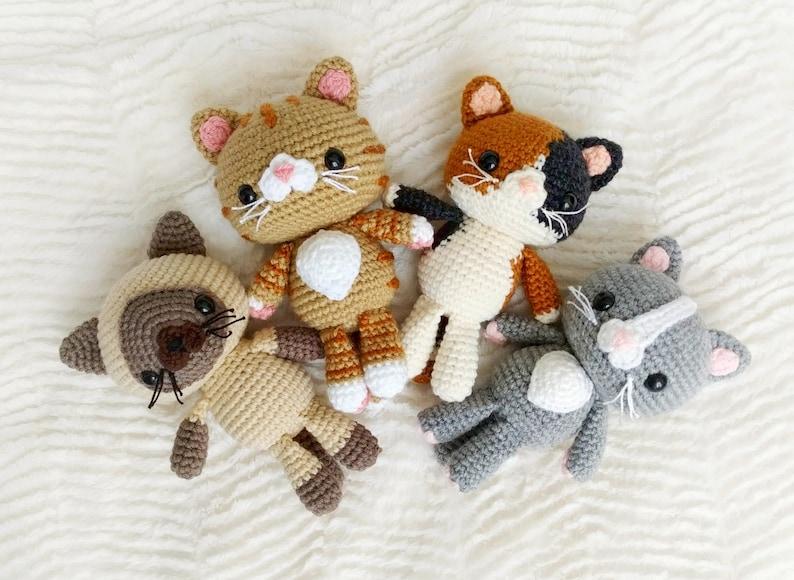 PATTERN BUNDLE: Crochet Kitty Cat Patterns 4 Amigurumi Cat image 0