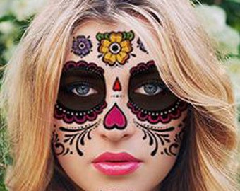 Sugar Skull Temporary Face Tattoo - Hearts & Flowers - Day of the Dead - Dia de los Muertos - Calavera - Halloween Costume