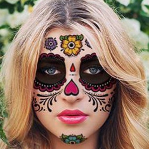sugar skull temporary face tattoo hearts flowers day of the dead dia de los muertos calavera halloween costume