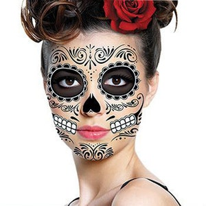 sugar skull temporary face tattoo skull face day of the dead dia de los muertos calavera halloween costume