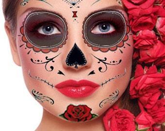 Sugar Skull Temporary Face Tattoo Skull Face Day Of The Etsy