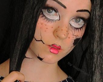 Broken Doll Temporary Face Tattoo Set - Halloween Costume