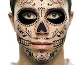 Sugar Skull Temporary Face Tattoo - Black Skull - Day of the Dead - Dia de los Muertos - Calavera - Halloween Costume
