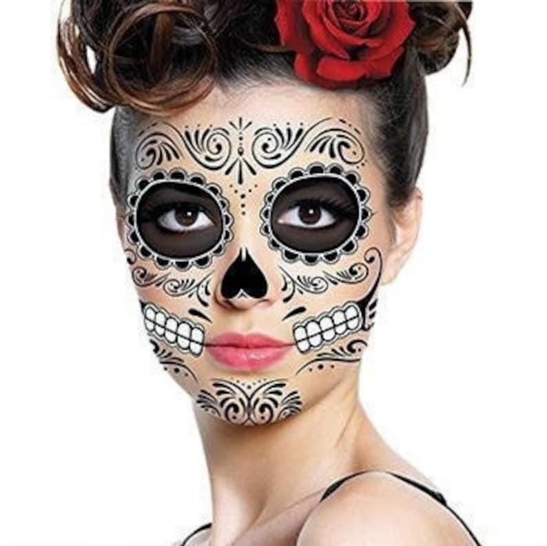 Sugar Skull Temporary Face Tattoo  Skull Face  Day of the image 1