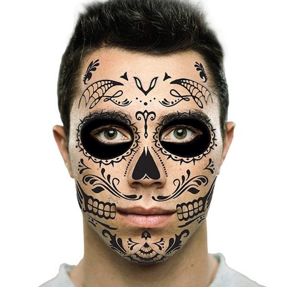 Sugar Skull Temporary Face Tattoo Black Skull Day Of The Etsy