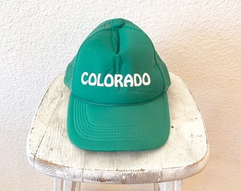 7c47d86d0758d0 Vintage Colorado Green Mesh Snap Back Hat Trucker Farmer Cap 80s OS