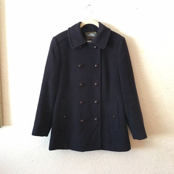Vintage Mackintosh Pure Wool Navy Blue Womens Peac