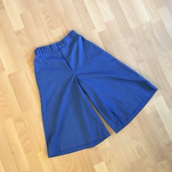 Vintage 70s Blue Shorts Coolats Capri Wide Leg Cot