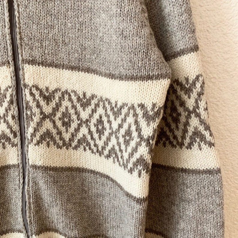 Kauri Kraft Hand Knit New Zealand Pure Wool Full Zip Sweater Coat Collared Womens Small
