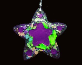 Purple & Green NEON Star Necklace | Resin Jewelry | Chunky Fluorescent Glitter
